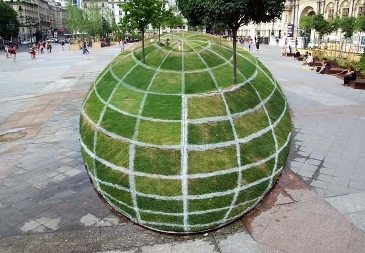 What do you think this is? A garden of lawn grass and trees grown on a globe or something else??