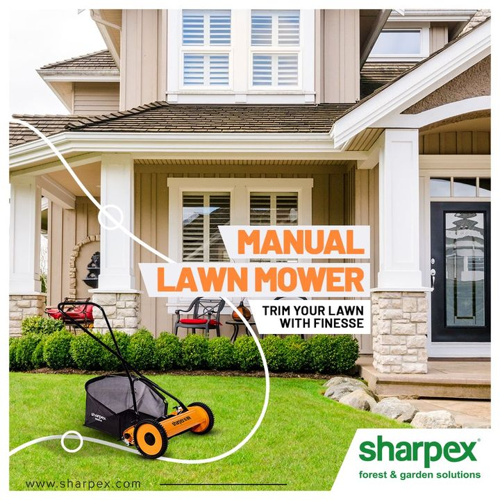 A Light-weight Manual Lawn mower which is easy to drive and helps to cut your grass with finesse. Easy to drive with better grip on the equipment. Environment-friendly and low on maintenance. A perfect choice for small lawns.  #ManualLawnMower #LawnMower #GardeningTools #ModernGardeningTools #GardeningProducts #GardenProduct #Sharpex #SharpexIndia