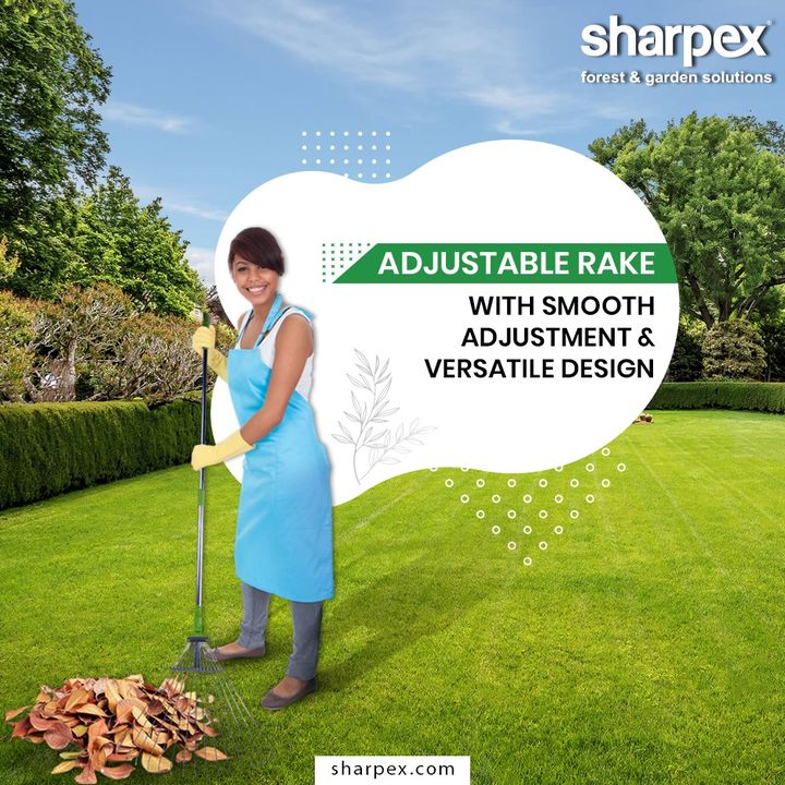 This ideal garden rake easily rakes up clippings, leaves and loose lawn and garden debris without damaging plants.  #GardeningTools #ModernGardeningTools #GardeningProducts #GardenProduct #Sharpex #SharpexIndia