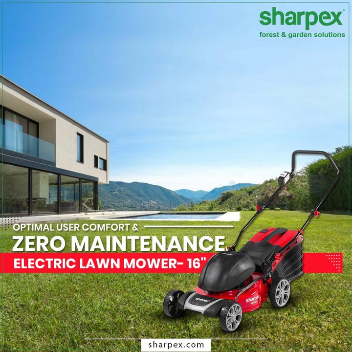 This Electric Lawn Mower has simple but sturdy construction with the perfect combination of durable wheels with double ball bearings, Detachable grass collector, and the well-built handles that make gardening easier with comfort & zero maintenance.   #ElectricLawnMower #LawnMower #GardeningTools #ModernGardeningTools #GardeningProducts #GardenProduct #Sharpex #SharpexIndia