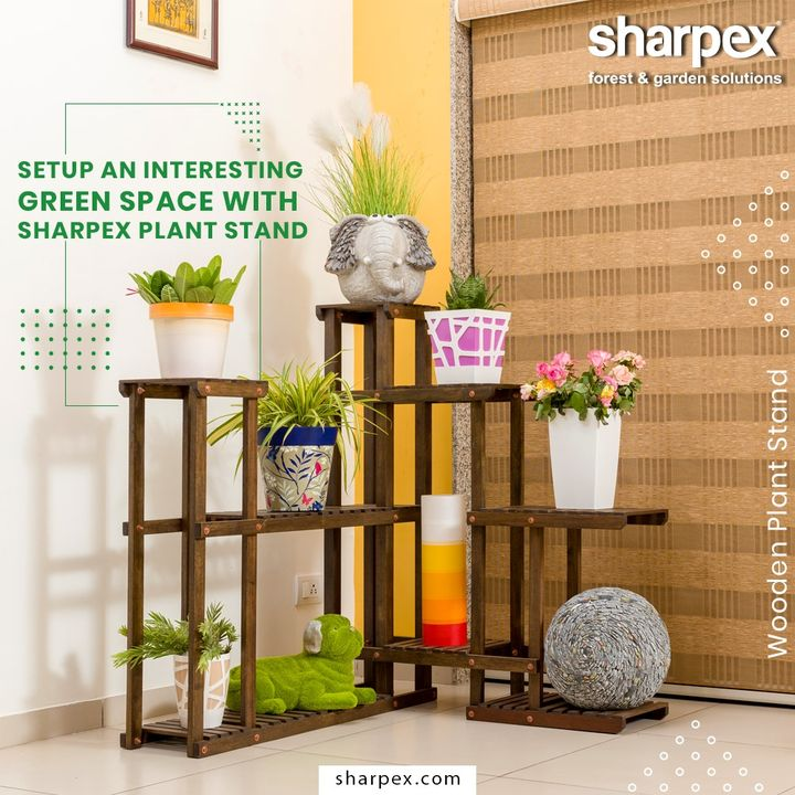 This multi-platform stand can help set-up a small garden in urban homes that have less space for a garden.  #WoodenPlantStand #GardeningTools #ModernGardeningTools #GardeningProducts #GardenProduct #Sharpex #SharpexIndia