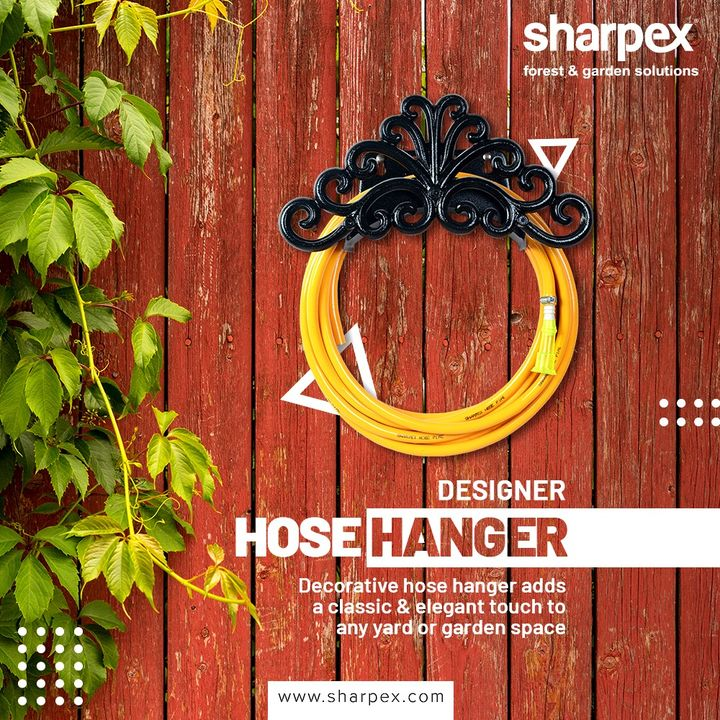A very sleek design hose hanger that also looks elegant in your garden area. The hanger provides you all the convenience to avoid a mess in the garden.  #DesignerHoseHanger #GardeningTools #ModernGardeningTools #GardeningProducts #GardenProduct #Sharpex #SharpexIndia