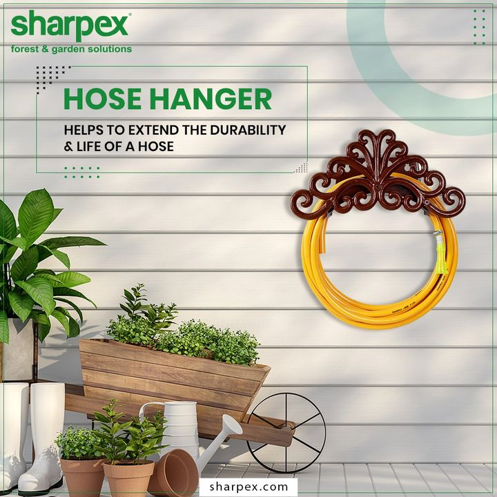 Keep your garden hose well-organized; prevent the unwanted tangles and kinks. Extend the durability & life of the garden hose by purchasing the right kind of hose hangers.  #GardeningTools #ModernGardeningTools #GardeningProducts #GardenProduct #Sharpex #SharpexIndia