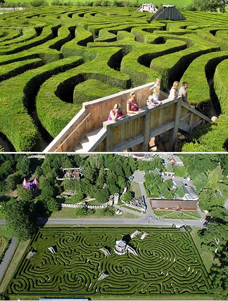 Situated in UK, Longleat Hedge Maze is the world's longest hedge maze. It was laid out in 1975 and has a total pathway length of 2.72 km! In case you get lost in the maze, there are wooden bridges in between that offer a somewhat ariel view of the maze.