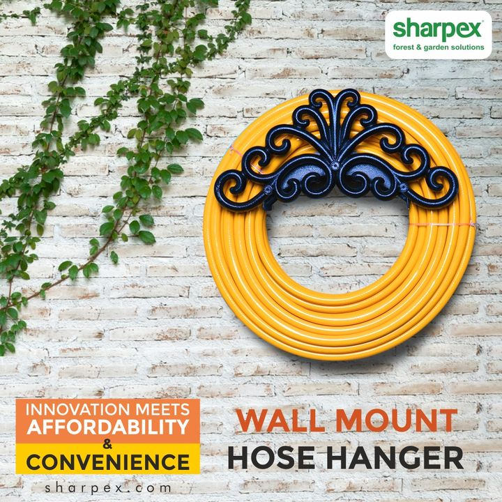 Besides saving space, the innovative, affordable & convenient Sharpex hose wall mount hose hanger helps in preventing the tangling of the garden hose.  #HoseWallHanger #GardeningTools #ModernGardeningTools #GardeningProducts #GardenProduct #Sharpex #SharpexIndia