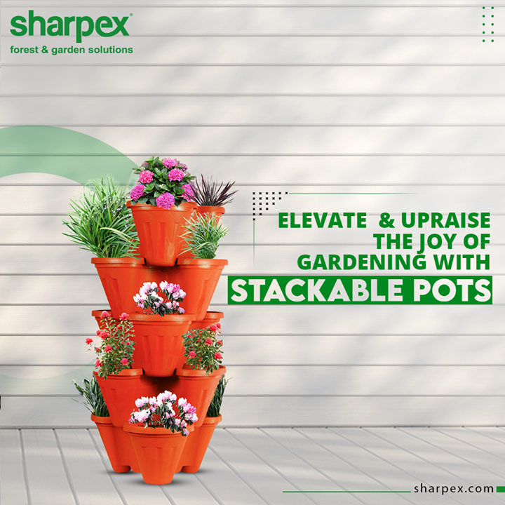 Made up of high-quality polypropylene, our stackable pots are sturdy and resistant to fading and cracks.   Make the best possible use of small spaces by growing your plants vertically and elevate the joy of gardening. #JoyOfGardening #StackablePots #GardeningTools #ModernGardeningTools #GardeningProducts #GardenProduct #Sharpex #SharpexIndia