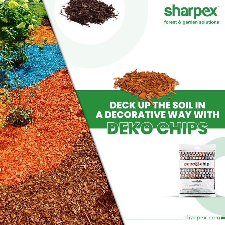 Deko Chips are the natural and beneficial decorative materials used for creating attractive flower beds in garden areas and also for floor patio Decoration.   Deck up the soil in a decorative way with Deko Chips!  #DekoChips #ModernGardeningTools #GardeningProducts #GardenProduct #Sharpex #SharpexIndia