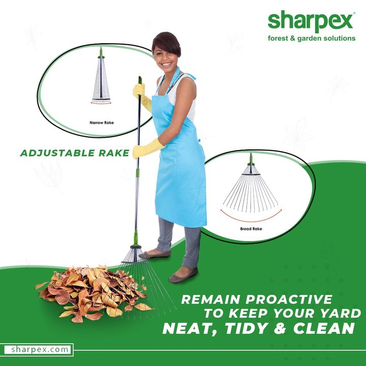 Think green and remain proactive to keep your yard neat, tidy & clean.  #AdjustableRake #GardeningTools #ModernGardeningTools #GardeningProducts #GardenProduct #Sharpex #SharpexIndia