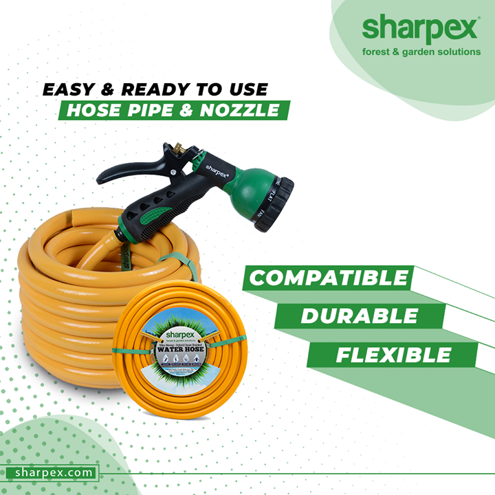 Keep the water pressure in control effectively and water your lawn more conveniently with the compatible, durable, flexible and easy to use hose pipe and nozzle from Sharpex Gardening Community.  #HosePipe #Nozzle #SharpexSolutions #GardeningSolutions #ModernGardeningTools #GardeningProducts #GardenProduct #Sharpex #SharpexIndia