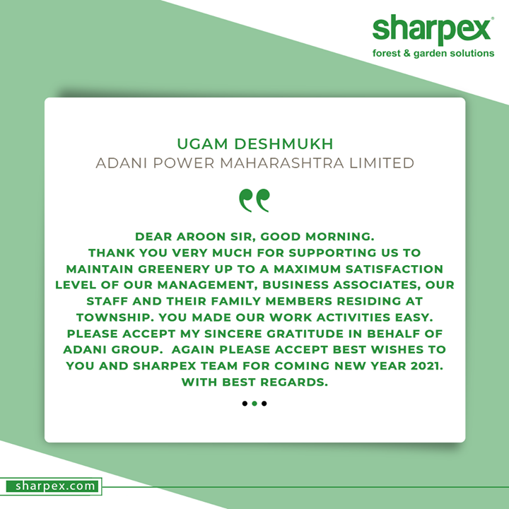 Reviews like these mean a world to us! Such words of appreciation and acknowledgment inspire us to keep going and growing.  Thanking the honourable personality with gratitude from the bottom of our heart.  #testimonial #GardenLovers #GardeningAccessories #GardeningTools #ModernGardeningTools #GardeningProducts #GardenProduct #Sharpex #SharpexIndia
