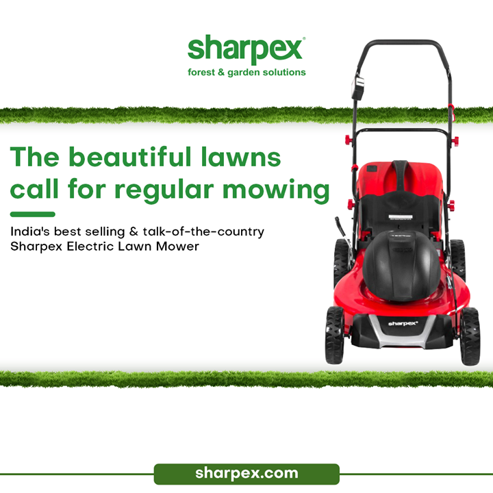 The beautiful lawns call for regular mowing and maintenance. Fall in love with the bounties of greenery and take delight be a professional gardener by getting yourself the modern gardening accessories.   Begin your collection with the best-selling and talk-of-the country Sharpex Electric Lawn Mower.   #LoveForGreen #LoveForGreenery #GoGreen #GreenFebruary #GardenersByPassion #ElectricLawnMower #GardeningAccessories #GardeningTools #ModernGardeningTools #GardeningProducts #GardenProducts #Sharpex #SharpexIndia