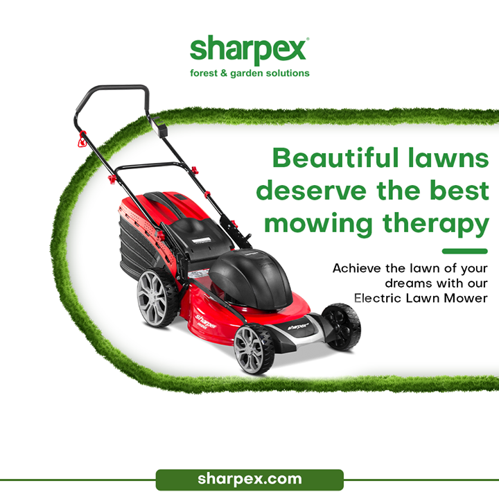 Never take the lawns for granted because the beautiful lawns deserve the best therapy.  Achieve the lawn of your dreams with India's largest selling Electric Lawn Mower from Sharpex Gardening & Community.  #LoveForGreen #LoveForGreenery #GoGreen #GreenFebruary #GardenersByPassion #ElectricLawnMower #GardeningAccessories #GardeningTools #ModernGardeningTools #GardeningProducts #GardenProducts #Sharpex #SharpexIndia