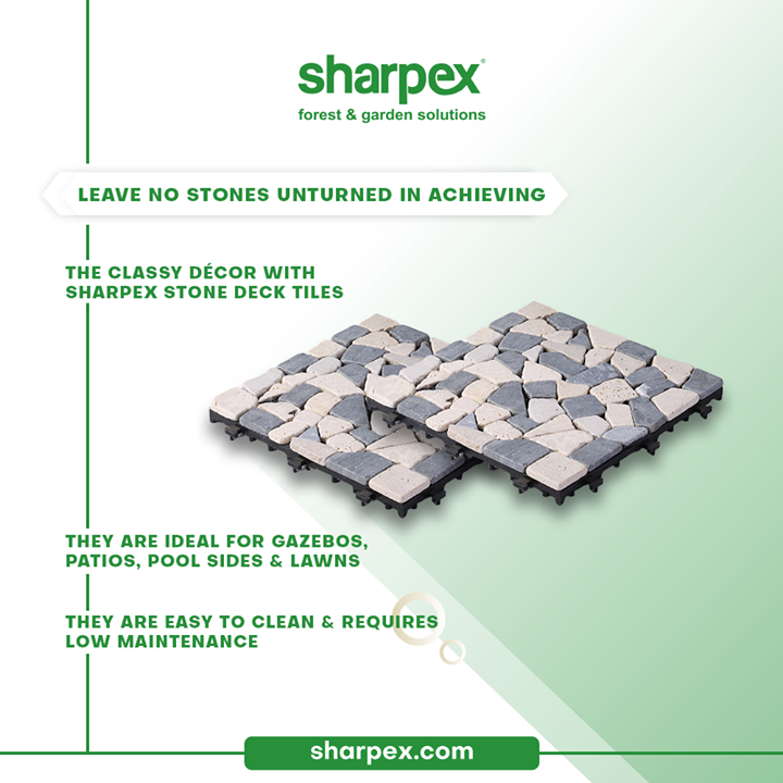 Leave no stones unturned in achieving the classy décor with Sharpex stone deck tiles. The stone deck tiles are ideal for gazebos, patios, pool sides & lawns. The cherry on the cake is that they are easy to clean & require low maintainence.  #GardeningAccessories #GardeningTools #ModernGardeningTools #GardeningProducts #GardenProducts #Sharpex #SharpexIndia