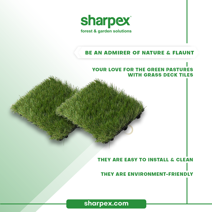 Be an admirer of nature, bounties of greenery & flaunt your love for the green pastures with Sharpex grass deck tiles.  You can purchase the grass deck tiles without having to worry about their durability because besides being environment-friendly they are easy to install & clean too.  #GardeningAccessories #GardeningTools #ModernGardeningTools #GardeningProducts #GardenProducts #Sharpex #SharpexIndia