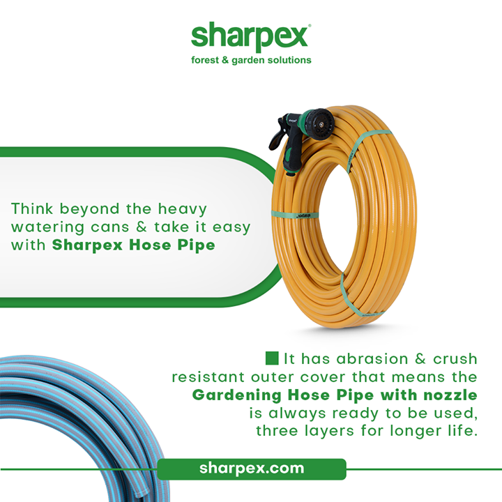 How do you water your lawn and plants?  Think beyond the heavy watering cans and take it easy with Sharpex Hose Pipe. The modern gardening accessory has abrasion and crush resistant outer cover that means the product is always ready to be used.  #GardeningAccessories #GardeningTools #ModernGardeningTools #GardeningProducts #GardenProducts #Sharpex #SharpexIndia