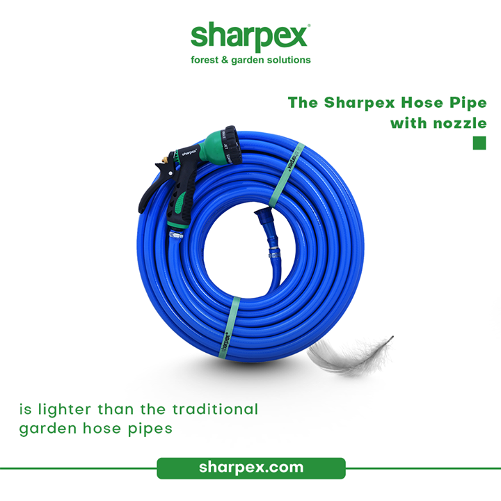 Why should you waste your energy unnecessarily in carrying the unnecessary burden?  The thoughtfully designed Sharpex Gardening Community Hose Pipe with nozzle is lighter than the traditional garden hose pipes. It is easier to lift, carry and maneuver around the yard.  #GardeningAccessories #GardeningTools #ModernGardeningTools #GardeningProducts #GardenProducts #Sharpex #SharpexIndia