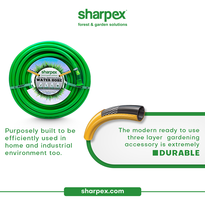 The modern gardening accessory; hose pipe with nozzzle is extremely durable.  This extremely useful gardening accessory is purposely built to be efficiently used in any home and industrial environment.   All you need to do is get the product from Sharpex Gardening & Community and enjoy the usability of the product.  #GardeningAccessories #GardeningTools #ModernGardeningTools #GardeningProducts #GardenProducts #Sharpex #SharpexIndia