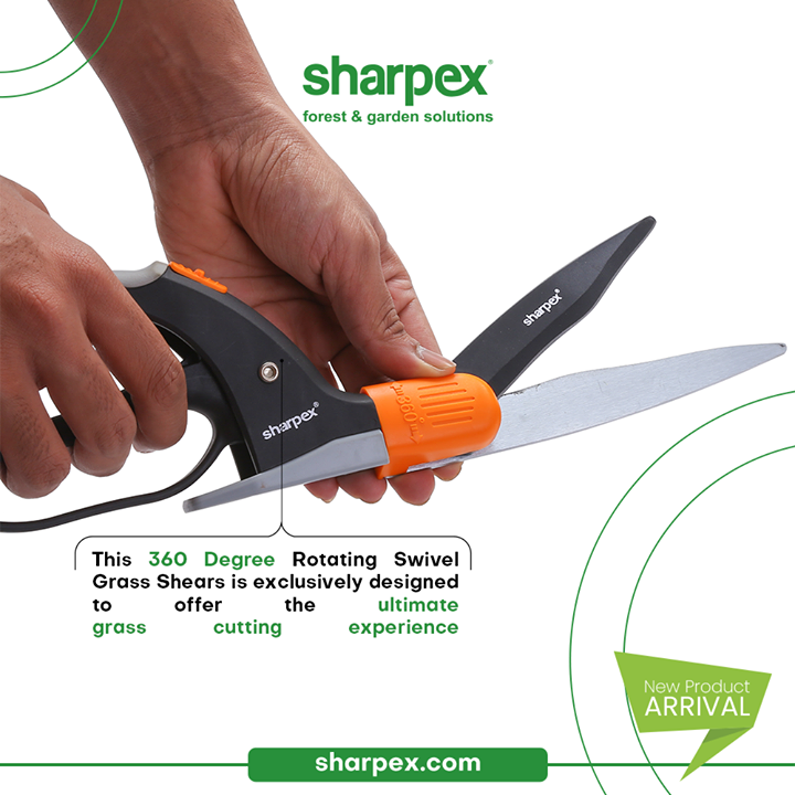 The new launched exclusive product grass shear with 360 degree rotating swivel mechanism is exclusively designed to offer the ultimate grass cutting experience.  Embrace functionality, be a modern gardener and bring home the modern gardening accessories.  #CreativeGardeningAccessory #GrassShear #GardeningAccessories #GardeningTools #ModernGardeningTools #GardeningProducts #GardenProducts #Sharpex #SharpexIndia
