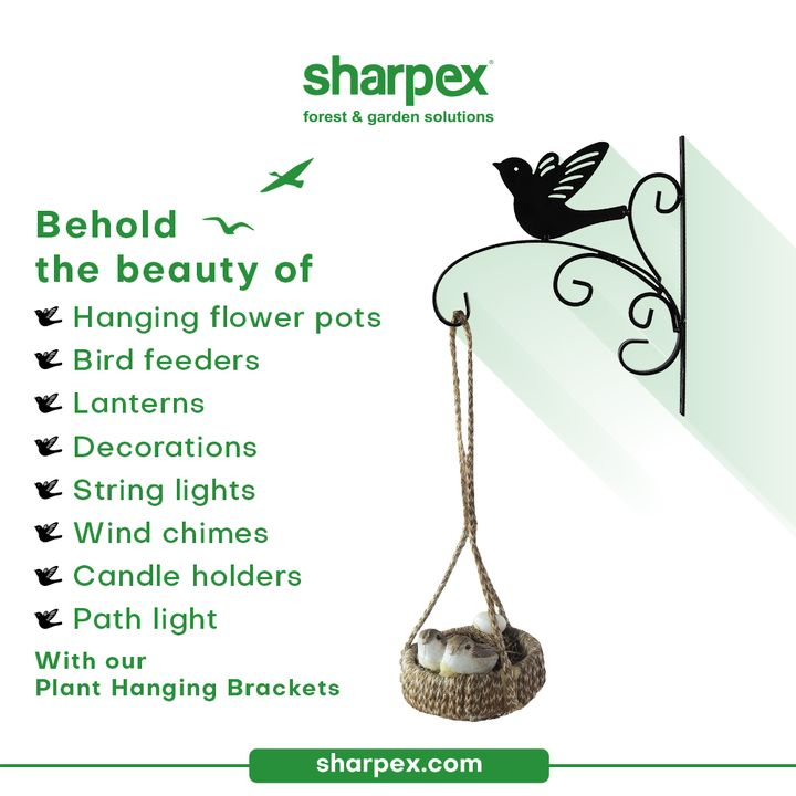 The plant hanging brackets can be used for an array of purposes.  Behold the beauty of hanging flower pots, bird feeders, lanterns, decorations, string lights, wind chimes, candle holders & path light with our plant hanging brackets.   Take a look at our product range & bring home the elegant plant brackets from Sharpex Gardening Community.  #PlantBrackets #PlantHangingBrackets #CreativeGardeningAccessory #GardeningAccessories #GardeningTools #ModernGardeningTools #GardeningProducts #GardenProducts #Sharpex #SharpexIndia