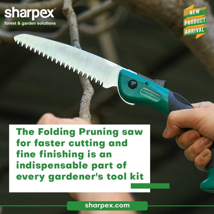 The Folding Pruning saw for faster cutting and fine finishing deserves to become an indispensable part of every gardener's tool kit. Up your skills of pruning with the newly introduced Folding Pruning Saw from Sharpex Gardening Community.  #FoldingPruningSaw #CreativeGardeningAccessory #GardeningAccessories #GardeningTools #ModernGardeningTools #GardeningProducts #GardenProducts #Sharpex #SharpexIndia