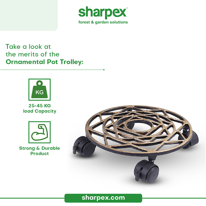 Life of the gardeners get sorted when functionality of modern pot trolley meets artistic style.  Take a look at the beautifully designed ornamental pot trolley that is strong & durable.   Bring home this collection from Sharpex Gardening And Community today!  #CreativeGardeningAccessory #GardeningAccessories #GardeningTools #ModernGardeningTools #GardeningProducts #GardenProducts #Sharpex #SharpexIndia