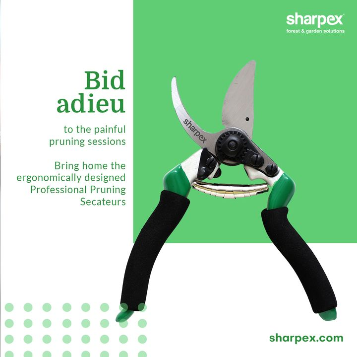 Bid adieu to the painful pruning sessions with the professional pruning secateurs from Sharpex Gardening Community. Bring home this exclusive gardening accessory that has been ergonomically designed with foam grip to offer comfort to the pruners.  #CreativeGardeningAccessory #GardeningAccessories #GardeningTools #ModernGardeningTools #GardeningProducts #GardenProducts #Sharpex #SharpexIndia
