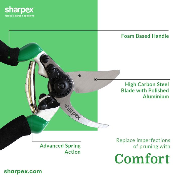 Replace the imperfections of pruning with comfort by adding the professional pruning secateurs from Sharpex Gardening Community to your already existing set of gardening accessories.  #CreativeGardeningAccessory #PruningSecateurs #GardeningAccessories #GardeningTools #ModernGardeningTools #GardeningProducts #GardenProducts #Sharpex #SharpexIndia