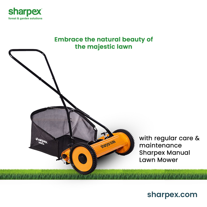 Unfold life amidst the green canvas of nature.  Embrace the natural beauty of the majestic lawns they are beautifully manicured and mowed. Let the Sharpex Manual Lawn Mower be your   partner for the regular lawn care and maintenance.  #GardeningAccessories #GardeningTools #ModernGardeningTools #GardeningProducts #GardenProducts #Sharpex #SharpexIndia