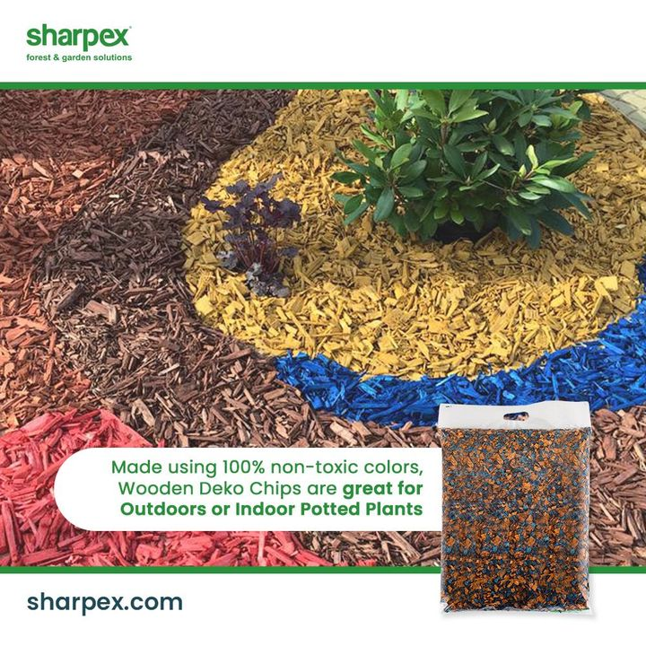 Being dyed with a rich, 100% non-toxic wood deko chips are a great decorative option for outdoors and indoor potted plants.  They are very much in fashion and use because deko chips help to prevent evaporation of water from soil and also contribute in maintaining the moisture level of soil.  #GardeningAccessories #GardeningTools #ModernGardeningTools #GardeningProducts #GardenProducts #Sharpex #SharpexIndia