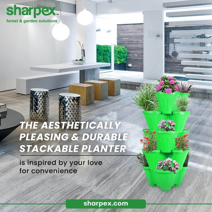 The aesthetically pleasing and durable stackable planter is inspired by your love for convenience.   Take your love for gardening notches higher with ease by bringing home the wide range of contemporary gardening accessories from Sharpex Gardening And Community.  #GardeningAccessories #GardeningTools #ModernGardeningTools #GardeningProducts #GardenProducts #Sharpex #SharpexIndia