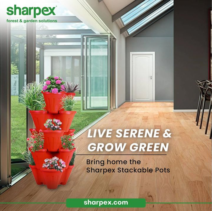 Let your life be influenced by the beauty and bounties of greenery.  Live serene and grow green. Bring home the Sharpex Stackable Pots and enjoy gardening like a pro.  #GardeningAccessories #GardeningTools #ModernGardeningTools #GardeningProducts #GardenProducts #Sharpex #SharpexIndia