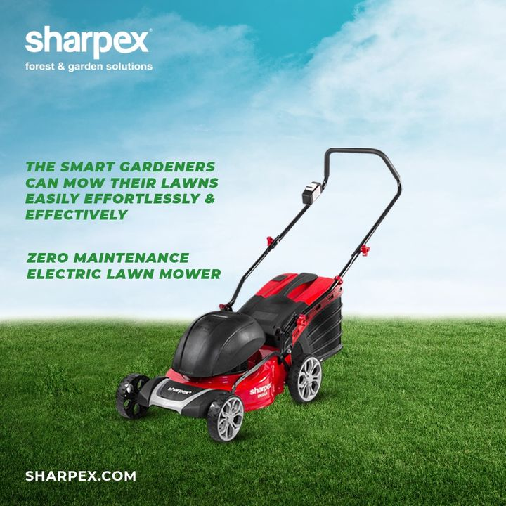 Are you a smart contemporary gardener of the modern times?  If yes, then you ought to take care of your lawn easily, effortlessly and effectively by getting it mowed regularly with our zero maintains #ElectricLawnMower.  #JoyOfGardening #GardeningAccessories #GardeningTools #ModernGardeningTools #GardeningProducts #GardenProducts #Sharpex #SharpexIndia