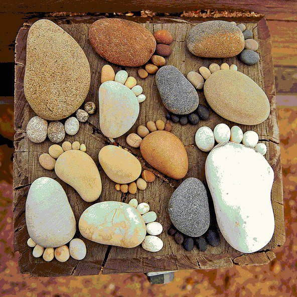 Pebble Feet - A great idea for pebble placement in your garden/home