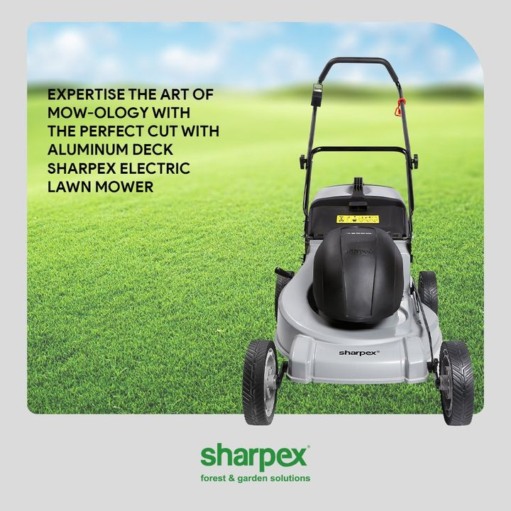 Mowing the lawn rightly is a necessity.  Expertise the art of mow-ology with the perfect cut with Aluminum Deck Sharpex Electric Lawn Mower!  #GardeningAccessories #GardeningTools #ModernGardeningTools #GardeningProducts #GardenProducts #Sharpex #SharpexIndia #ElectricLawnMower