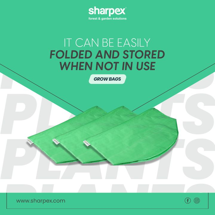 It can be easily folded and stored when not in use. It is thick & durable grow bag for longer life. Suitable for growing all types of vegetable, fruits and flower plants  #SharpexGrowBags #GardeningAccessories #GardeningTools #ModernGardeningTools #GardeningProducts #GardenProducts #Sharpex #SharpexIndia