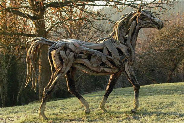 horse made entirely of Driftwood