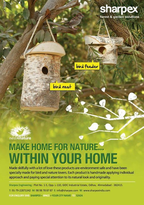All the bird lovers can now attract more birds to their home. Buy Sharpex Bird Nest and Bird Feeder at our online store and let nature come inside your home! Here is the link http://www.sharpexindia.com/product-category/accessories/