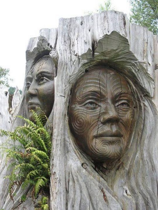 When man and nature collide in a sympathetic way, the results can be amazing. Maori carvings from Marahau, Golden Bay, New Zealand
