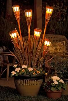 solar lights in a planter for #outdoor lighting!!