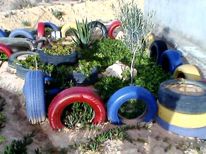 TIRES TO COMBAT WIND EROSION AND GROW PLANTS