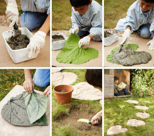 make ur own stepping stone:  layout the leaf on the ground use the leaf as a template, dig out the dirt to 4 inches deep, mix and pour the cement, place the leaf on top and gently push leaf in the cement. wait about five minutes, remove leaf. This will give you a more solid stepping stone.
