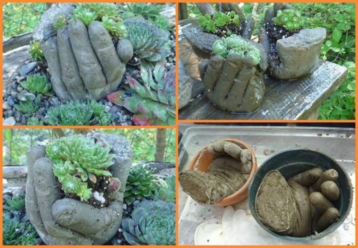 Does your garden need something eye catching? These DIY hand planters might inspire you.