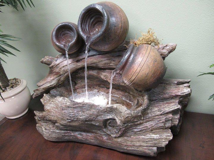 Tthree pots fountain idea with unique design for fresh #garden look..!!