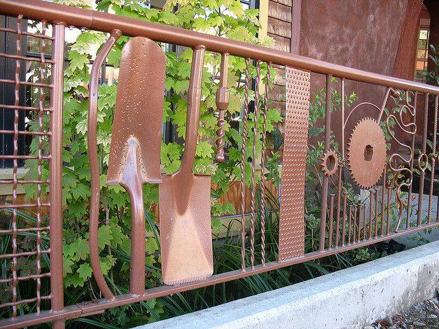 If you've got welding skills, this is a cool way to incorporate old tools into an interesting fence.