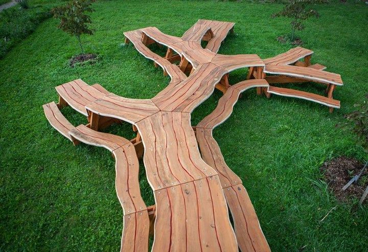 Extreme picnic table by artist Michael Beitz