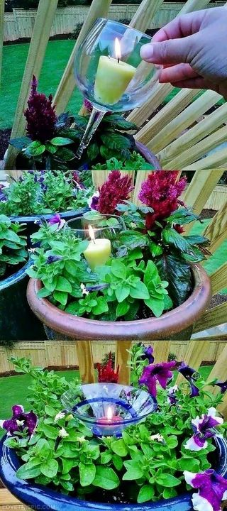 Place candle in wineglass when having outdoor #garden dinner party..