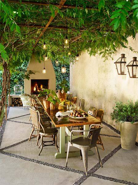 A leaf-covered patio