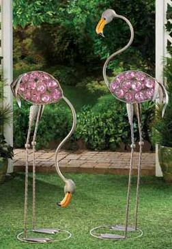 GLASS ART FLAMINGO STATUES!