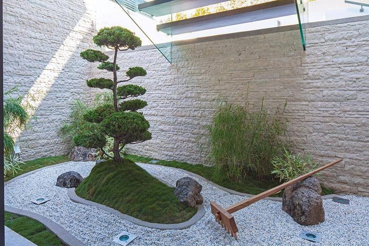 Small Home Inside Garden Design Under Staircase With Bonsai Grass Pebble