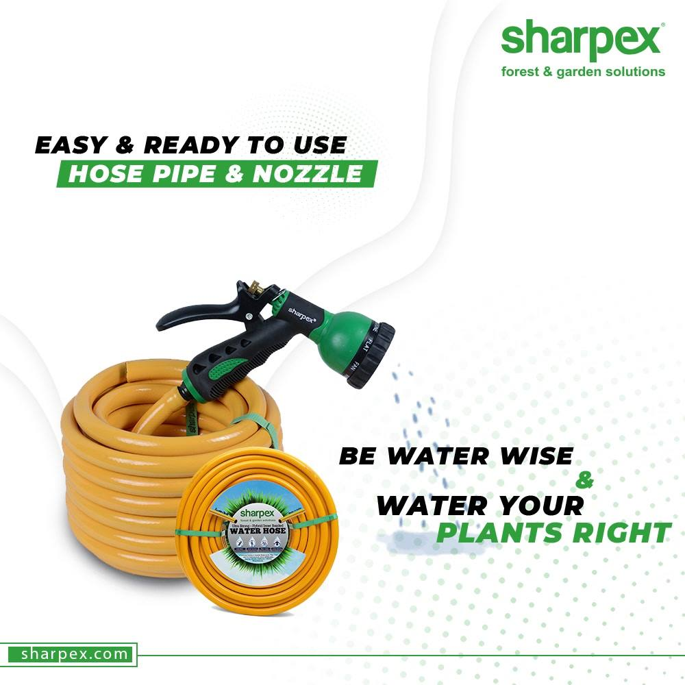 The spray nozzle of the hose pipes allow you to water plants with convenience and adjustable patterns.  Be water wise, water your plants right and also help to save water.  #SaveWater #GardenersPledge #BeAGardener #GardenLovers #GardeningAccessories #GardeningTools #SharpexIndia